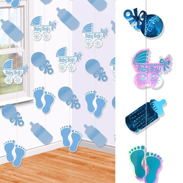 Baby Boy Deko-Stränge, 6 Stück je 2,13m, mit glänzenden Motiven, zur Baby Shower-Party, Hängedeko