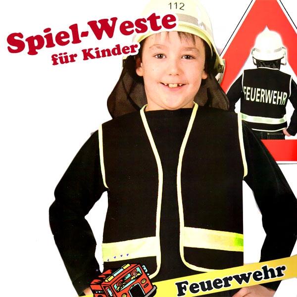 Feuerwehr Spielweste für Kids, Gr. 128, +Aufdruck, top Kostümzubehör