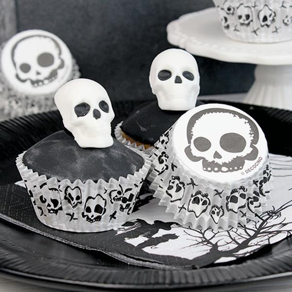Muffinförmchen mit Totenkopf-Motiven, 50 Stück