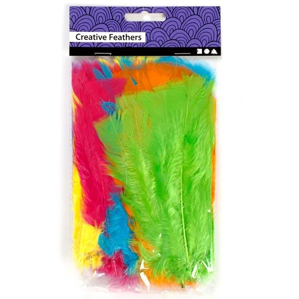 Flauschige Federn, 18 Stück, 11cm bis 17cm, für Bastelarbeiten, in trendy Farben