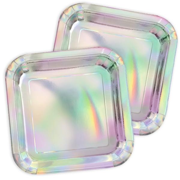 In Regenbogenfarben-schimmernde Partyteller, 8 Stück, Pappe