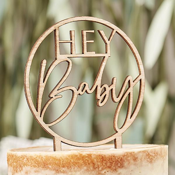 "Cake Topper ""Hey Baby"" aus Holz, Ø 12,5cm"