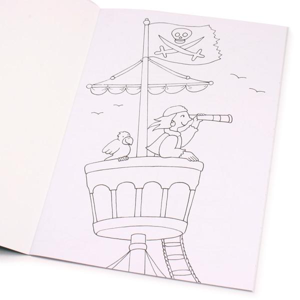 Piraten-Malbuch 32 Seiten, große Ausmalbilder, Piratenschiff ausmalen