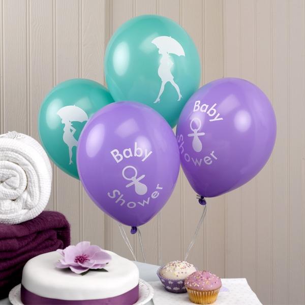 Baby Shower Latexballons mit Aufdruck, 2 Farben, 8er Pck, Luftballons