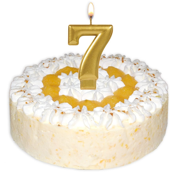 Zahlenkerze 7, große schimmernde Kerze in gold