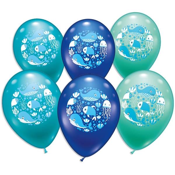 Unterwasser-Welt, Meerestiere, Ballons im 6er Pack