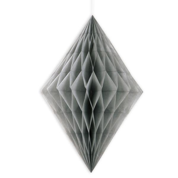Wabendiamant silber, hängende Wabendeko aus Papier, 35,5cm