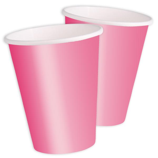 Partybecher einfarbig pink, 8 Stück Pappbecher mit 270 ml Inhalt