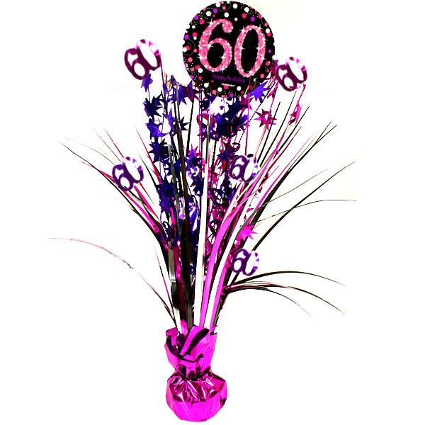 Sparkling Celebr. Tischkaskade 60. Geburtstag, pink, 46cm