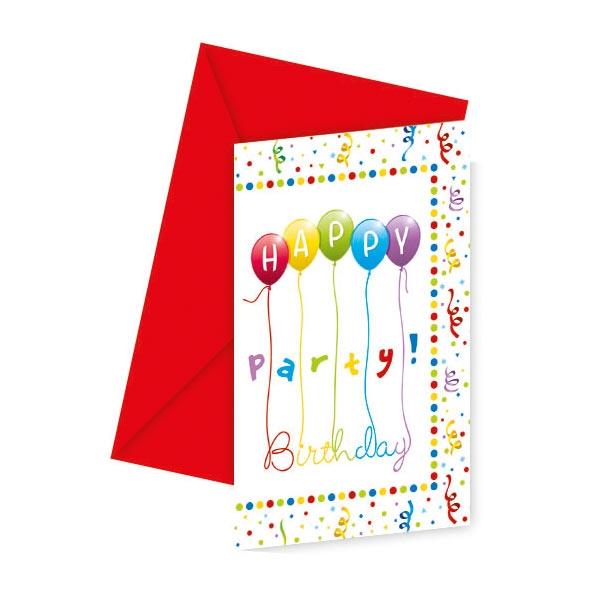 """""""Happy Birthday Luftschlangen"""" Einladungskarten 6 Stk + Umschläge"""