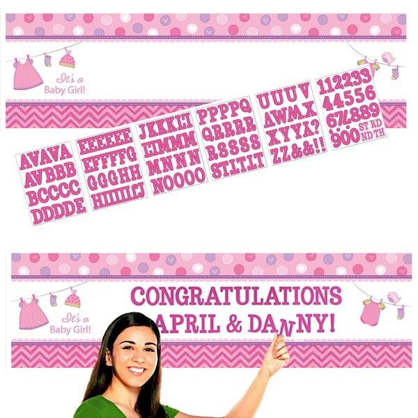 Partybanner Baby Girl personalisierbar, 165×51 cm, Folie +120 Sticker