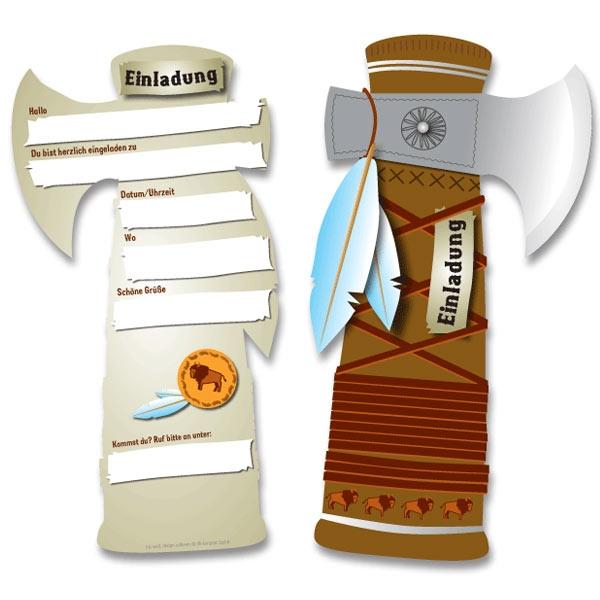 Tomahawk Einladungskarten für Indianer-Mottoparty im 6er Pack
