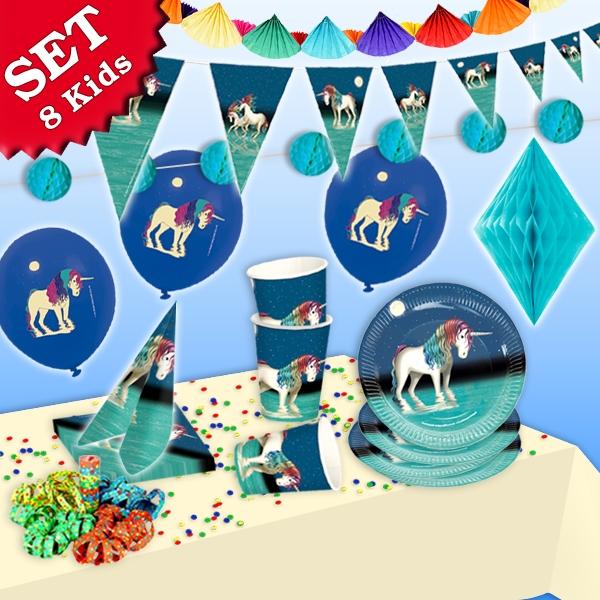 Einhorn Partyset XL, 8 Kids, 53-tlg. Lunabelle-Geburtstagsset