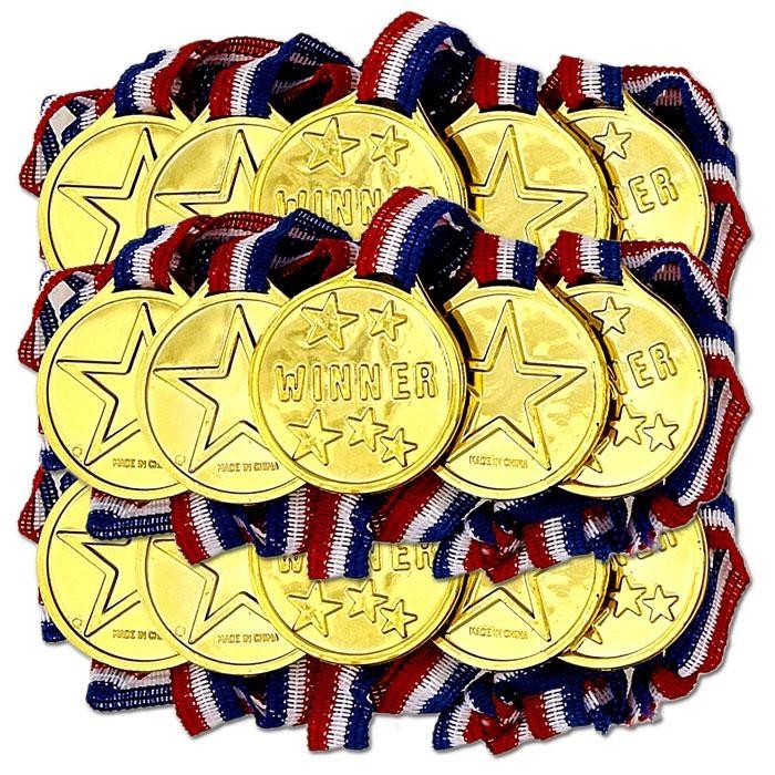 Goldmedaillen fürs Sportfest, 24 Kindermedaillen in Gold, Plastik