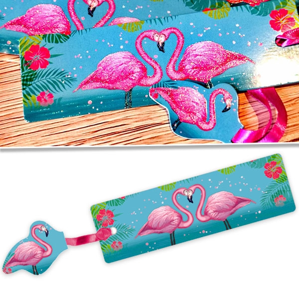 Glitzer-Lesezeichen mit paradiesischen Flamingos, 14,5 × 4,5 cm