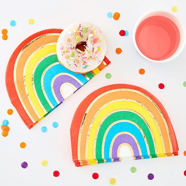 Regenbogen Servietten, 16 Stück