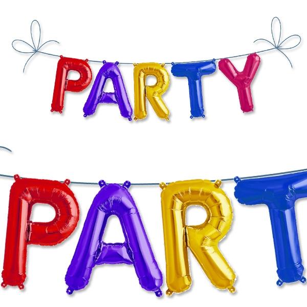 Mini Folieballon-Set PARTY als bunte Buchstabenballons mit Band