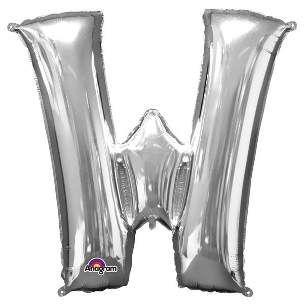 "Folienballon Buchstabe ""W"" - Silber, 71 x 83 cm"