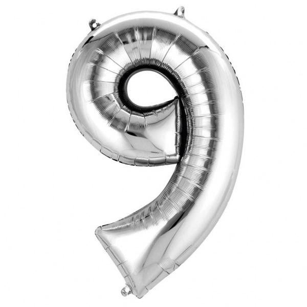 Folienballon Zahl 9, silberne Deko für 9. oder 90. Geburtstag, 86 x 55 cm