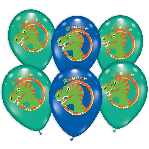 Bunte Ballons mit Dinosaurier-Motiv, im 6er Pack