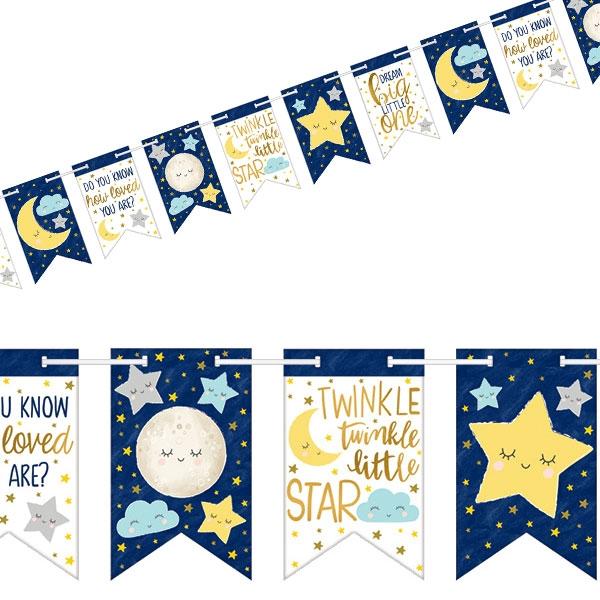 Twinkle - Little Star Wimpelkette, 1 Stk, 4,51m Babyparty Deko