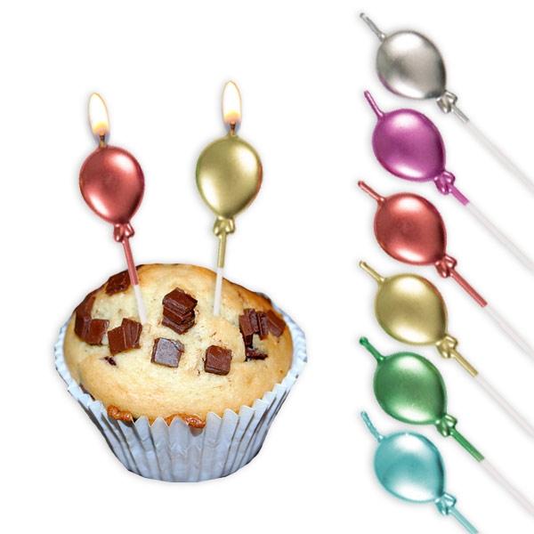 Ballon-Geburtstagskerzen mit Metallic-Glanz, 7 cm, 6 Stück