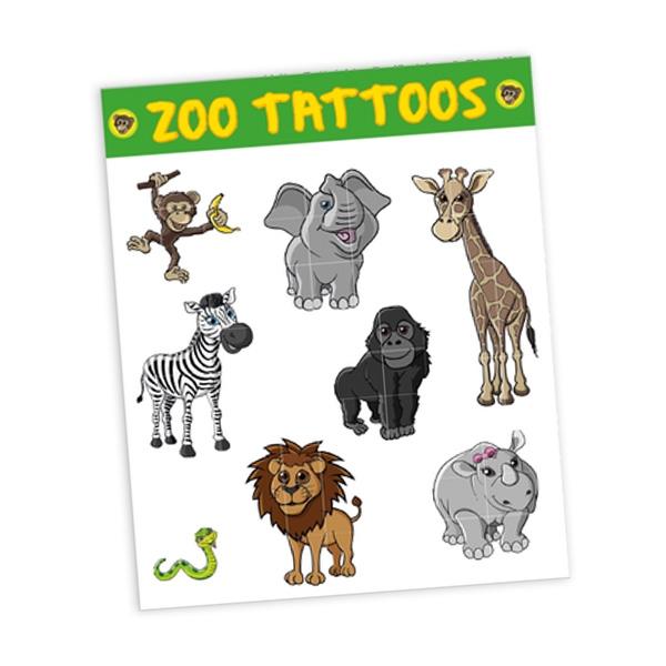 """Tattoobogen """"Zootiere"""" mit 8 Tattoos"""