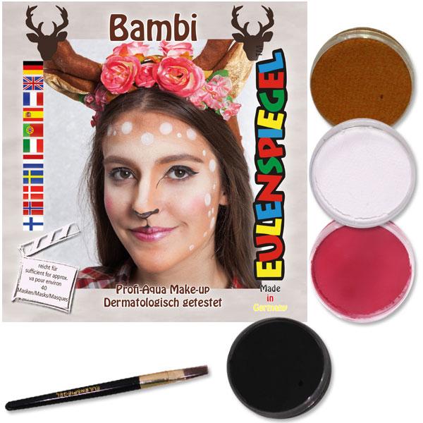 Schminkset Bambi, 4 Farben, 1 Pinsel, Anleitung