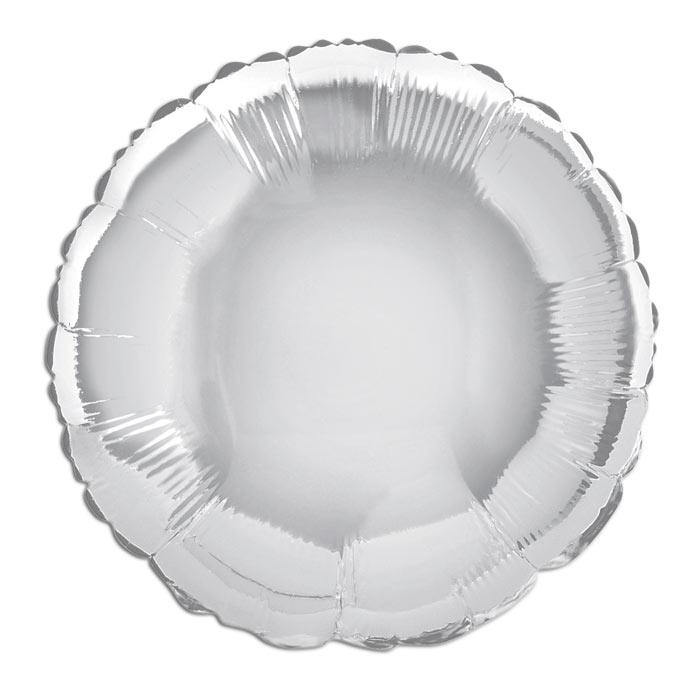 Folienballon rund, einfarbig silbern, wunderschön, für Helium, 35 cm
