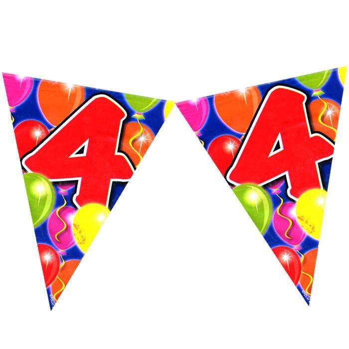 Wimpelkette zum 4. Geburtstag im Ballondesign, 10m, Folie