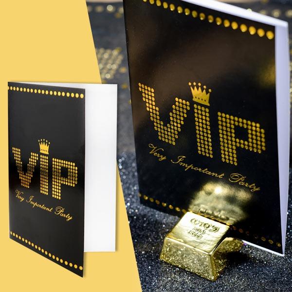 VIP Einladungskarten im 10er Pack, innen blanko, 11x17cm, glänzend