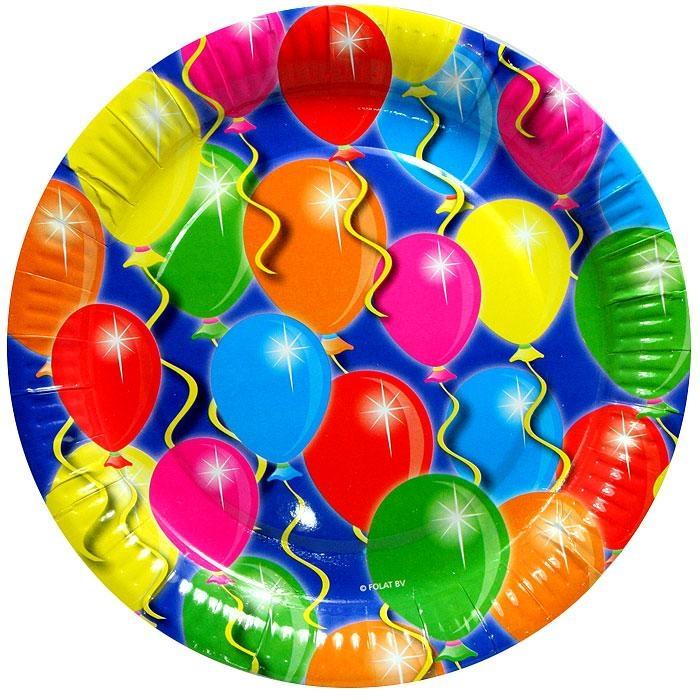 Ballonparty Partyteller, viele bunte Ballons aufgedruckt d=23cm,8er