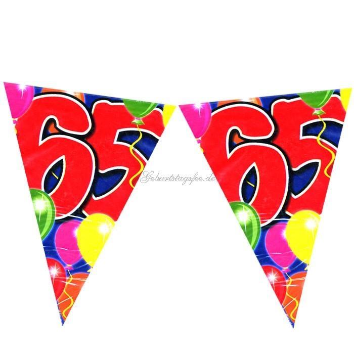 Wimpelkette zum 65. Geburtstag, volle 10m lang, aus Folie
