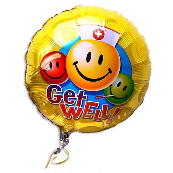 Folieballon rund mit Smilies -Get Well-, goldgelb, zum Gesundwerden