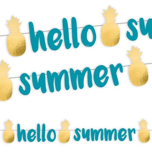 """Ananas Sommerparty Buchstabenbanner """"hello summer"""" 1,25m"""