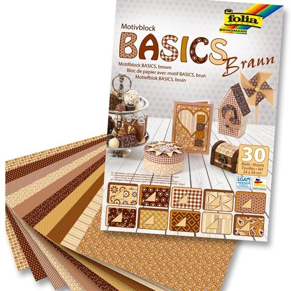 Motivblock BASICS BRAUN 24x34cm, 30 Blatt, Bastelpapier in versch. harmonischen Designs