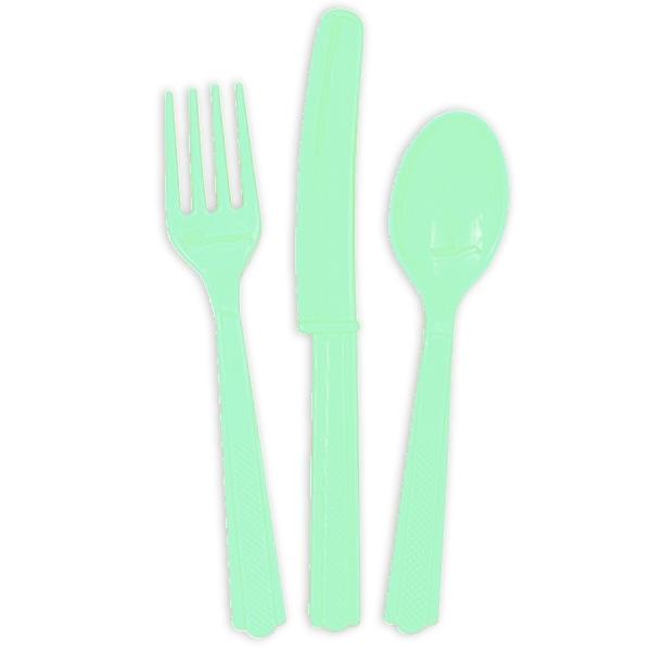 Plastikbesteck in mintgrün 18-teilig