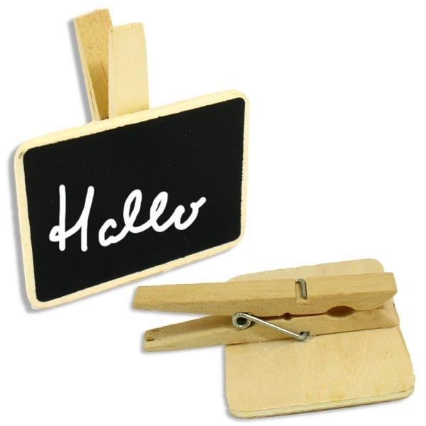 Holztafel zum Beschriften, mit Holzklammer zum Befestigen, 7 x 7,5cm