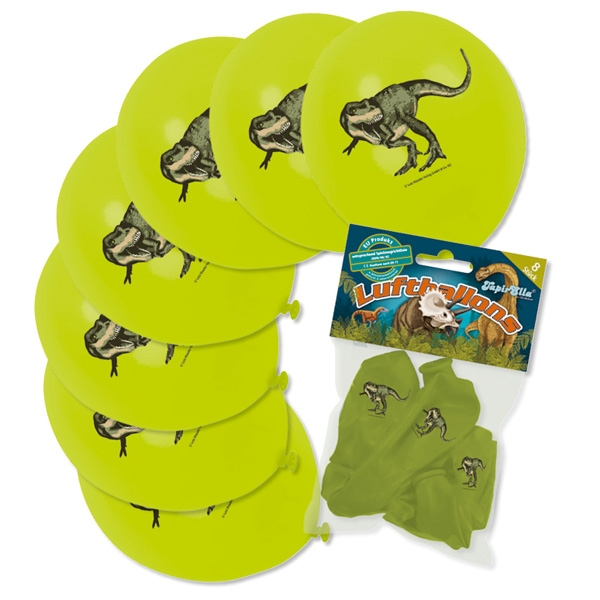 Dinosaurier Luftballons im 8er Pack, aufgedruckter Tyrannosaurus Rex