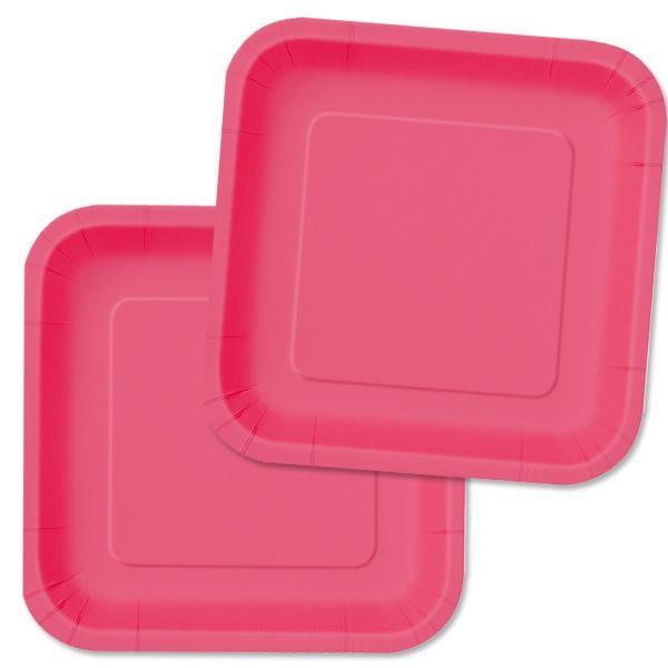 Partyteller eckig in Pink, 16 Stück, einfarbige Einwegteller aus Pappe