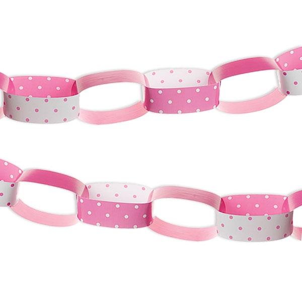 Papier-Kette, rosa/weiß, 1 Stück, 2,5 m