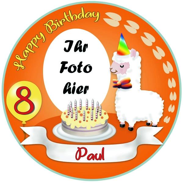 Alpaka Tortenbild mit Foto, Name, Alter – rund