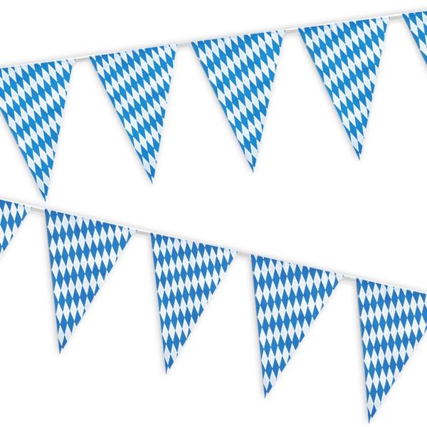 Bayrische Wimpelgirlande 4m, als Oktoberfest-Deko, blau-weiß kariert