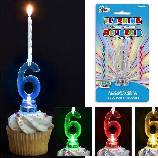 Kerzenhalter mit Geburtstagszahl 6 für Fooddeko, + 4 Kerzen