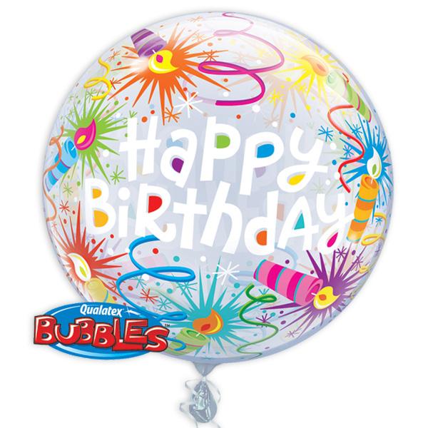 """Bubble Ballon """"Happy Birthday"""" mit Kerzen-Motiv, 56cm, heliumgeeignet"""