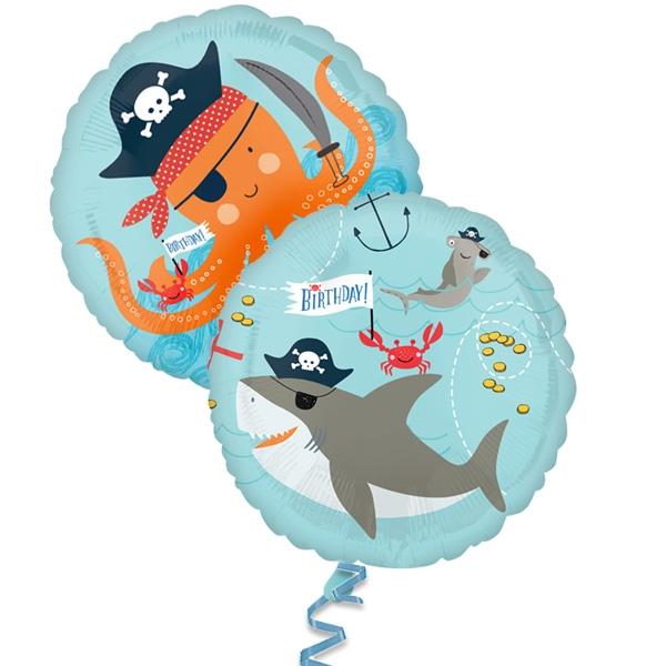 Ahoi Piraten 1x Folieballon, 2 Motive, Ø 35cm, heliumgeeignet