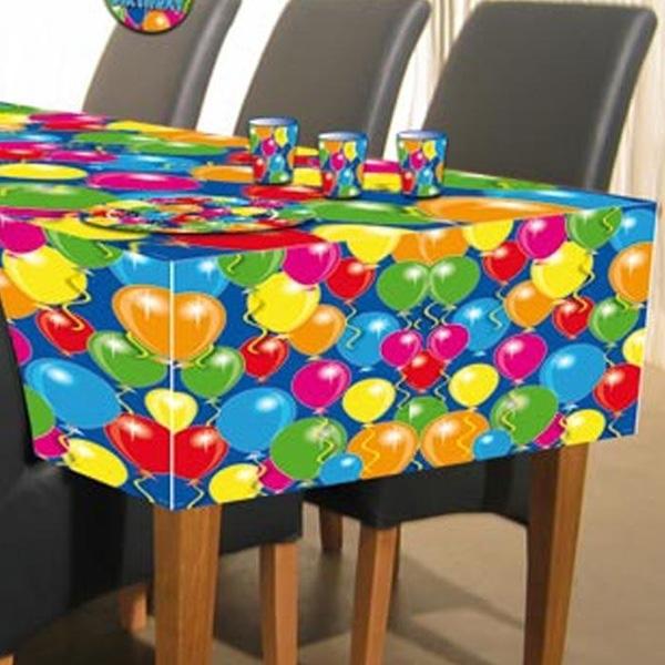 Ballonparty Tischdecke farbenfroh, abwischbare PVC Folie, 120x180 cm