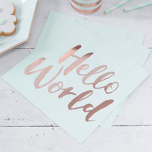 """""""Hello World"""" Servietten, hübsche Papierservietten zur Geburt, 20 Stück"""