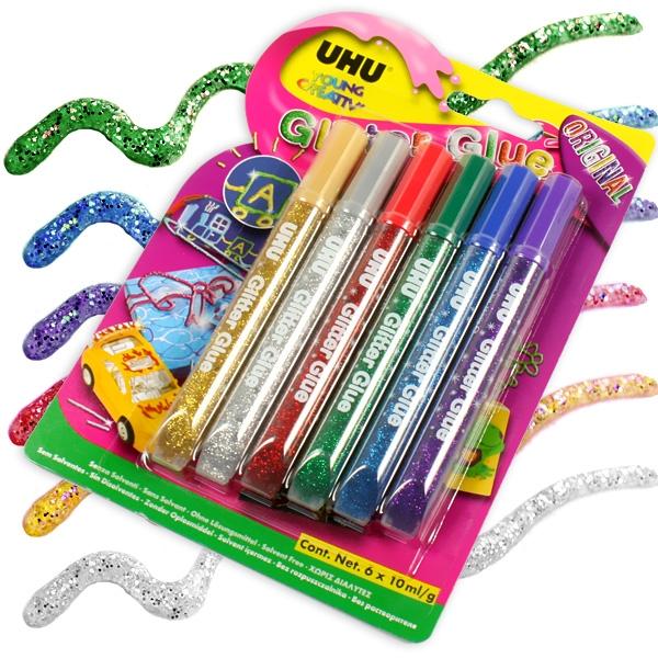 UHU Glitzerkleber, 6 Klebestifte, Bastelkleber mit Glitter, tolle Farben