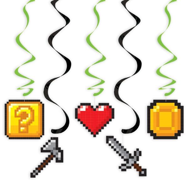 """""""Game On"""" Deko-Spiralen, 5 Stück, mit Symbolen aus Computerspielen"""